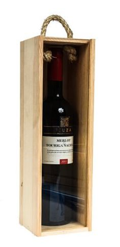The perfect wood wine box for that special occasion. Holds and protects a single 750ml bottle of wine, spirits or other similarly sized glass bottle. Ideal for personalization and corporate gift programs. Includes a rope handle and clear Lucite lid with an easy finger pull for opening and closing the box.