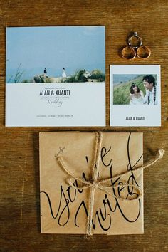 modern and simple wedding invitation with photo from engagement session