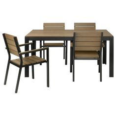 "$395 FALSTER Table and 4 armchairs - black/brown - IKEA  Dimensions: Table (length 63"", width 39 3/8"", height 29 1/2""). Chair (width 23"", depth 24"", height 34"", seat width 17 3/8"", seat depth 17"", seat height 16 1/2"")."