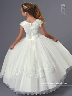 Tulle Flower Girl Dress with Sequined Lace by Mary's Bridal Cupids F551 - ABC Fashion