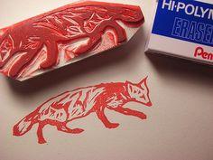 Fox eraser stamp(s) by Kozue. http://www.etsy.com/uk/people/Kozue?ref=owner_profile_leftnav Tags: Linocut, Cut, Print, Linoleum, Lino, Carving, Block, Woodcut, Eraser, Japanese, Helen Elstone, Cartoon.