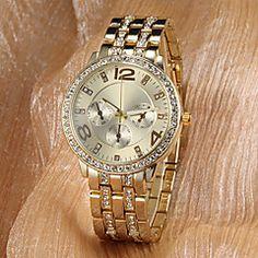 Women's Watch Fashion Diamante Luxury Gold Dial – AUD $ 10.00