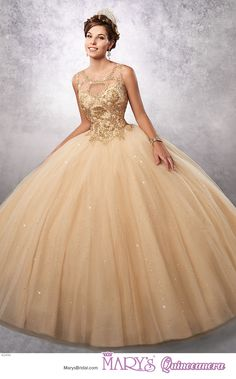 Princess style 4Q496 • Sparkling tulle quinceanera ball gown with a scoop neck bodice embellished with embroidery, basque waist line, and back with opening and lace-up closure.