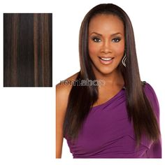 Vivica Fox Express Wig FHW-125 - Color FS1B/30 - Synthetic (Curling Iron Safe) Half Wig