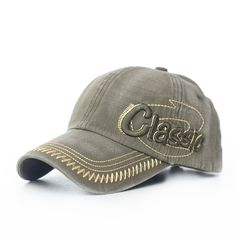 Mens Cotton Washed Baseball Caps CLASSIC Letter Embroidery Adjustable Sports Snapback Hats