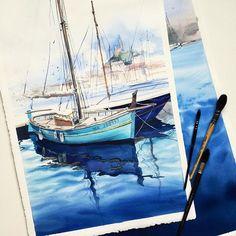 """""""Old port in Marseille"""", new sea artwork, #jb_sea.  My followers asked me about the most inspiring watercolor artists. They are Lars Lerin, Stanislaw Zoladz, Thierry Dival, David Poxon, and of course Andrew Wyeth, John Singer Sargent. ⚓️В предыдущем посте много раз спросили про любимых художников, и я решила написать об этом отдельно.  Итак, если говорить о современных авторах, работающих акварелью, а не погружаться в тонкости моего восприятия да Винчи или Сезанна, самые самые любимые и…"""