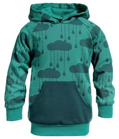 Sweatshirtstoff m/Wolken Petrol - Stoff & Stil