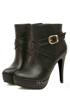 #Cute #Boots #New Cute Retro New Arrival High Heel Leather Belt Boots
