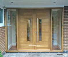 Contemporary Front Doors, oak iroko and other woods, Bespoke Doors Entry Door With Sidelights, Front Door Entryway, Oak Front Door, Double Front Doors, Wooden Front Doors, House Front Door, Painted Front Doors, Front Door Design, Glass Front Door