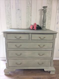 Painted in Annie Sloan Chalk Paint Chateau Grey and Country Grey, and sealed with clear wax.