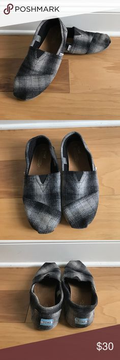 Men's Grey Flannel Toms Worn once! Like new condition! Snag this great deal!!! Toms Shoes