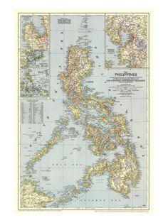 Philippines Map 1945 Print at Art.com