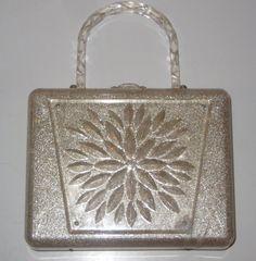 Vintage Purse 1950s Clear Lucite Glitter Handbag