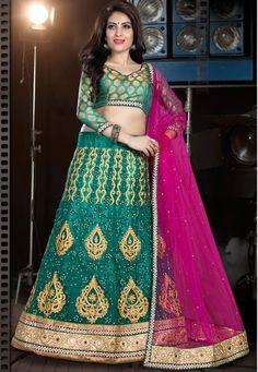 Green And Pink A-Line Wedding A-Line Lehenga Choli-48006