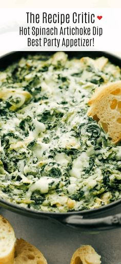 creamy appetizer dip filled with soft cream cheese, shredded spinach, chopped artichokes all melted together in a cheesy mixture blend and baked hot and bubbly.serve with crackers, chips and toasty bread Hot Artichoke Spinach Dip, Best Spinach Dip, Creamy Spinach Dip, Baked Spinach Dip, Spinach Appetizers, Appetizer Dips, Best Appetizers, Appetizer Recipes, Gastronomia