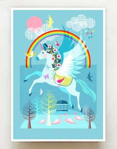 Unicorn the Rainbow and friends print Ellen Giggenbach