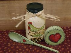 Mason Jar Hand Painted Glass Jar Four Piece by TheLaughingCabin, $12.95