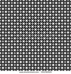 Vector seamless pattern with simple geometric figures, perforated circles, smooth lines. Black & white illustration. Endless abstract background. Modern monochrome texture. Repeating design element