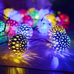 / 30 LEDs Solar Powered String Crystal Ball Lights Lamp Water-resistant/Xmas Christmas Decoration/Wedding Party Garden Home Decor Light Decorations, Wedding Decorations, Christmas Decorations, Ball Lights, String Lights, Christmas Wedding, Christmas Holidays, Solar Fairy Lights, Patio Railing