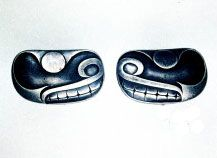 v. 1960. Argent D'après le motif « Salmon-Trout Heads » sur le plat ovale « Thunderbird and Whale » de Charles Edenshaw Collection privée