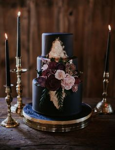 Floral Wedding Cakes a matte black wedding cake with burgundy and blush sugar flowers served on a gold dish Floral Wedding, Rustic Wedding, Our Wedding, Dream Wedding, Elegant Wedding, Wedding Colors, Spring Wedding, Geek Wedding, Burgundy Wedding