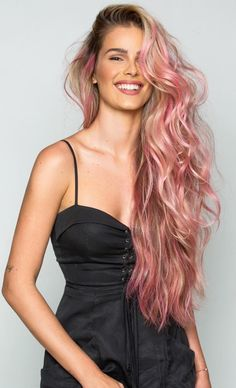 Rose gold in dark roots hair color idea for long hair with soft curls #rose #pink #hair #gorgeous