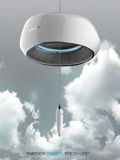 Wind Bell – Air Cleaner and Aroma Dispenser by Kim Edo Id Design, House Design, Yanko Design, Air Purifier, Minimal Design, Industrial Design, Lighting Design, Cool Designs, Home Appliances