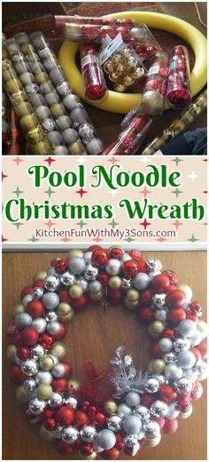 Pool Noodle Christmas Wreath. We love this fun Christmas craft for a DIY wreath for the holidays.