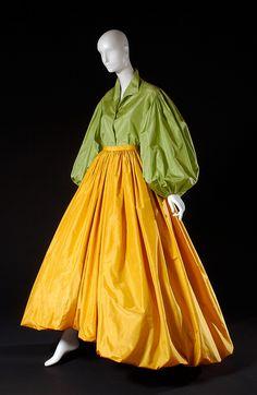 Oscar de la Renta, evening ensemble, green and gold silk tissue taffeta, circa 1978, USA