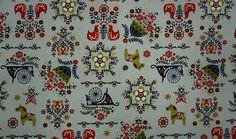 swedish folk motif cotton fabric