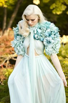 Light aqua | Pale turquoise | dress, shoulder thingy, flowers, costume, fantasy, fashion