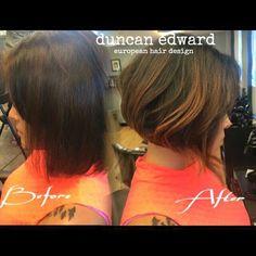 Recent haircut by Paola Lugo, Duncan Edward European Hair Design, Madison, WI. www.duncanedward.com  #duncanedward #madisonwi #hairsalon #womenshair #haircut #bob #beforeandafter