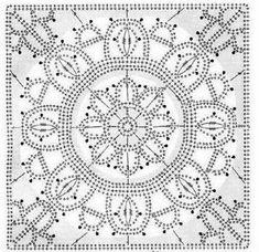 Patterns and motifs: Crocheted motif no. Crochet Motif Patterns, Crochet Blocks, Crochet Diagram, Square Patterns, Crochet Chart, Crochet Squares, Thread Crochet, Crochet Granny, Irish Crochet