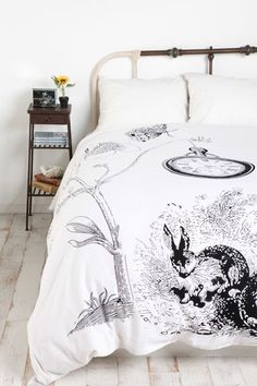 Urban Outfitter's Alice in Wonderland White Rabbit Duvet Cover. 100% Cotton. Absolutely love Alice in Wonderland, this is so pretty! I really want it... £60.00