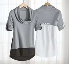 Ventura Tunic - Acacia Lifestyle  I like the gray & black combination. Diy Clothes Videos, Clothes Crafts, Sewing Shirts, Sewing Clothes, Reuse Clothes, Recycled T Shirts, Altered Couture, Shirt Refashion, Timeless Fashion