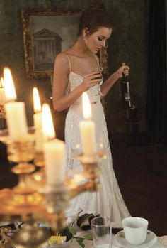 Candles and sparkling dresses for the Holidays.