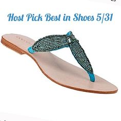 🎉 HP Cocobelle LeatherTurquoise Beaded Sandal's Super cute beaded flip flop style sandals by Cocobelle.  These retail for $125.00  NIB they come with the original box.      The style is called Catalina and color is listed as turquoise  They are European size 40 which fits US 9  They are handmade sandals. Cocobelle Shoes Sandals
