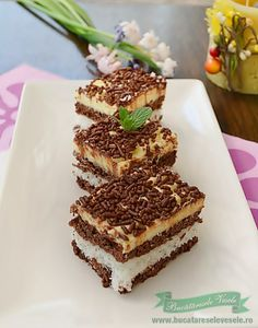 prajitura-cu-nuca-de-cocos Romanian Desserts, Romanian Food, Cream Cake, Tiramisu, Cookie Recipes, Sweet Treats, Cheesecake, Good Food, Food And Drink