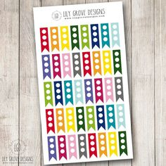 Rainbow 3 Dot To Do List Flags Set of 40 by lilygrovedesigns