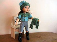 Bonnet  gilet et écharpe bicolore pour poupées tour de tête 26/29 cm