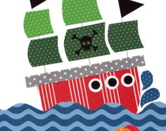 Nautical Pirate Nursery art prints baby by 3000yardsofthread