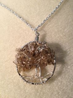 Smokey Quartz Necklace Wire Wrapped Tree Of Life by Just4FunDesign, $25.00
