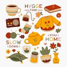 Autumn Illustration, Cute Illustration, Printable Stickers, Cute Stickers, Kids Stickers, Kawaii Stickers, Hygge, Korean Stickers, Wow Art