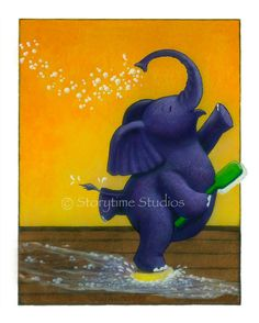 I love this happy elephant!  there are more happy animals for childrens' rooms if you click thru to the Etsy site - Storytime Studios.