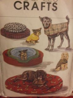 McCall's Crafts Pattern Dog Coats/Beds Bed Covers - Size: S/M/L Uncut FF #McCallsCrafts