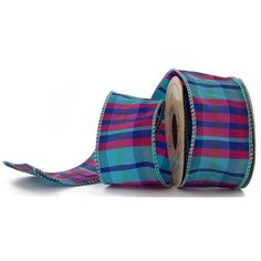 """2 1/2"""" Turquoise & Hot Pink Plaid Wired Edge Ribbon 
