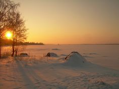 Sunrise over the frozen bay. Winter beauty from Vaasa in Finland.