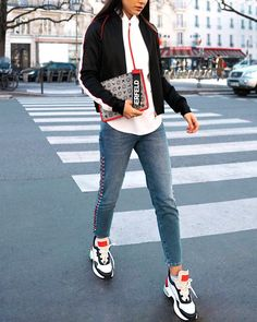 A look that can stop traffic. Sneakers Fashion, Fashion Shoes, Karl Lagerfeld Shoes, Jackets, Chanel, Shopping, Woman, Instagram, Down Jackets