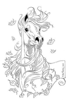 Resultado de imagen para black and white horse drawings Horse Coloring Pages, Colouring Pages, Adult Coloring Pages, Coloring Books, Horse Drawings, Animal Drawings, Art Drawings, Drawing Art, Equine Art