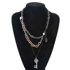 New Vintage Gold Plated Statement Necklace 2015 Fashion Multilayer Key Choker Necklace Zora Body Jewelry Accessories Wholesale
